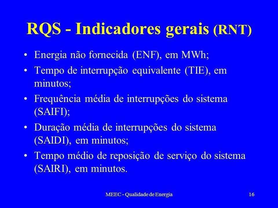 MEEC - Qualidade de Energia16 RQS - Indicadores gerais (RNT) Energia não fornecida (ENF), em MWh; Tempo de interrupção equivalente (TIE), em minutos;