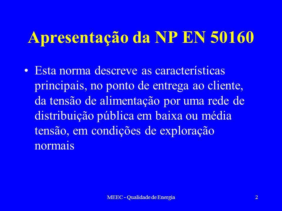 MEEC - Qualidade de Energia2 Apresentação da NP EN 50160 Esta norma descreve as características principais, no ponto de entrega ao cliente, da tensão