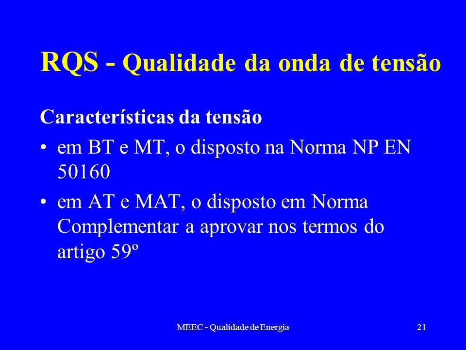 MEEC - Qualidade de Energia21 RQS - Qualidade da onda de tensão Características da tensão em BT e MT, o disposto na Norma NP EN 50160 em AT e MAT, o d