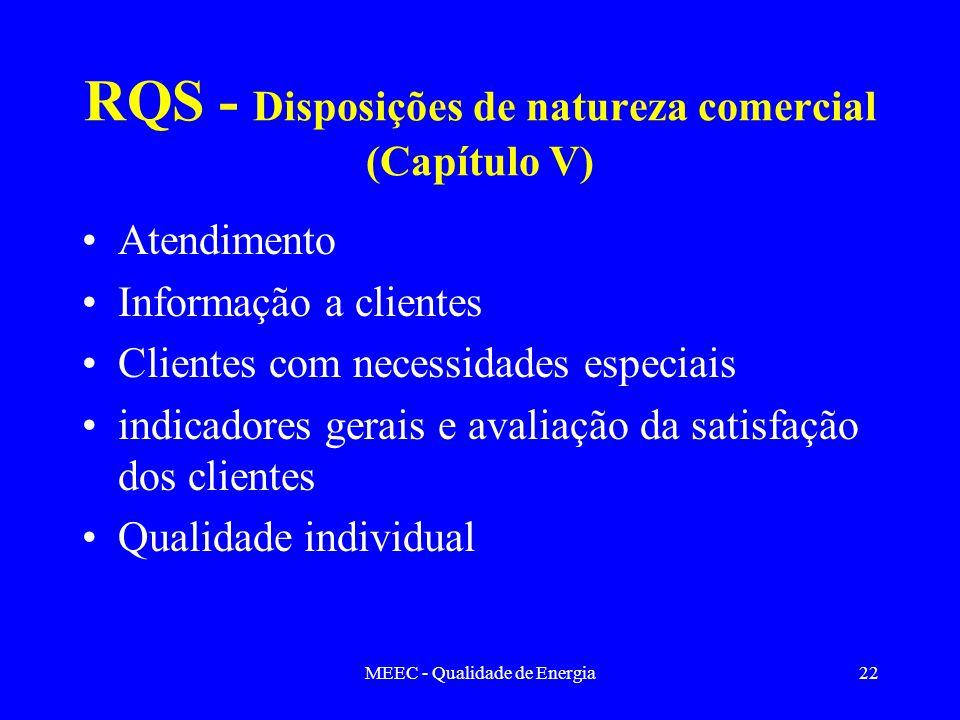 MEEC - Qualidade de Energia22 RQS - Disposições de natureza comercial (Capítulo V) Atendimento Informação a clientes Clientes com necessidades especia