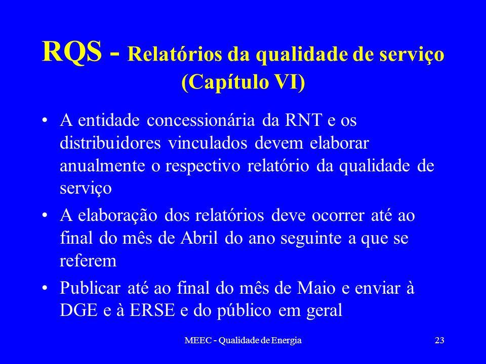 MEEC - Qualidade de Energia23 RQS - Relatórios da qualidade de serviço (Capítulo VI) A entidade concessionária da RNT e os distribuidores vinculados d