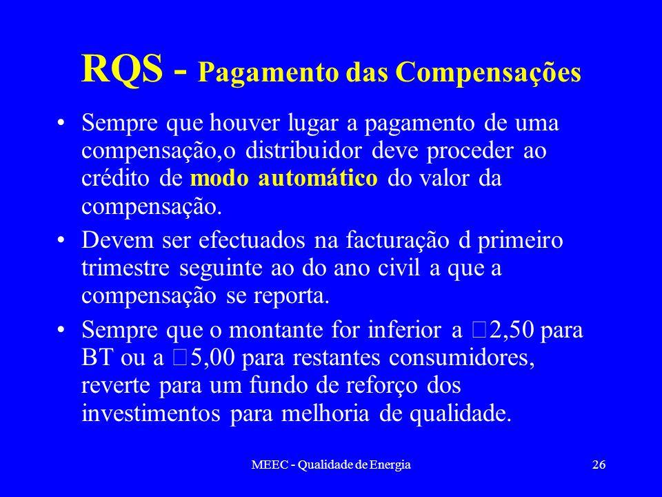 MEEC - Qualidade de Energia26 RQS - Pagamento das Compensações Sempre que houver lugar a pagamento de uma compensação,o distribuidor deve proceder ao