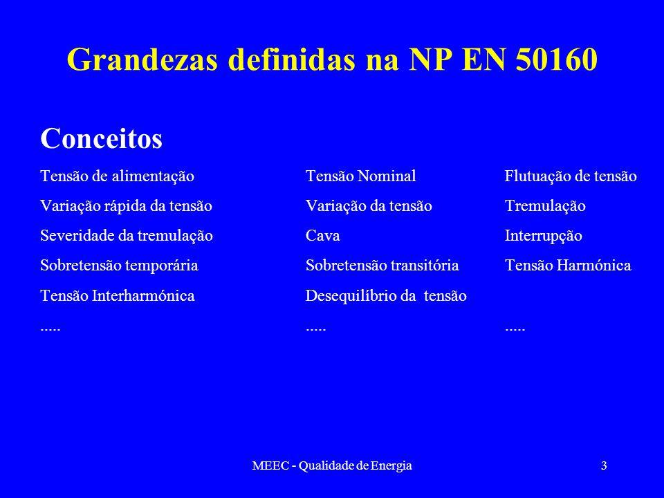 MEEC - Qualidade de Energia3 Grandezas definidas na NP EN 50160 Conceitos Tensão de alimentaçãoTensão NominalFlutuação de tensão Variação rápida da te