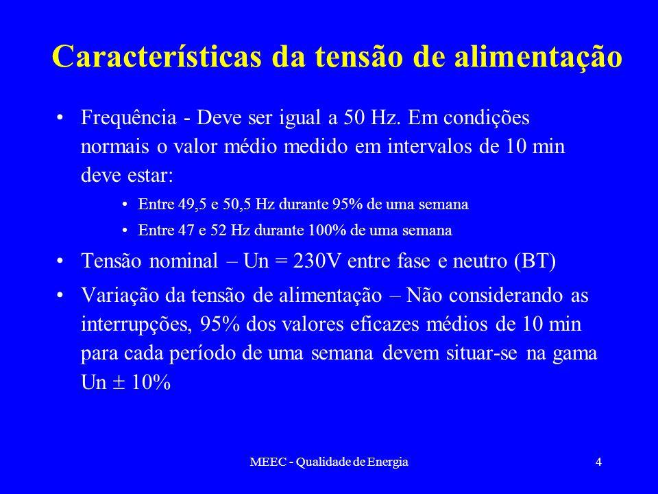 MEEC - Qualidade de Energia4 Características da tensão de alimentação Frequência - Deve ser igual a 50 Hz. Em condições normais o valor médio medido e