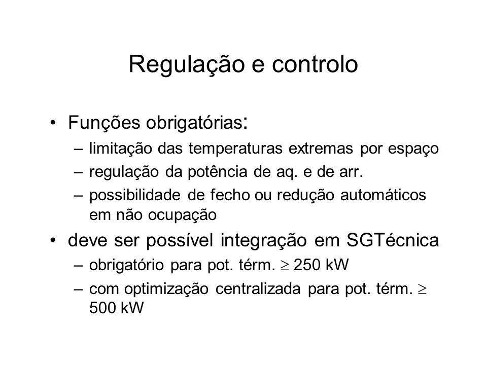 Regulação e controlo Funções obrigatórias : –limitação das temperaturas extremas por espaço –regulação da potência de aq. e de arr. –possibilidade de