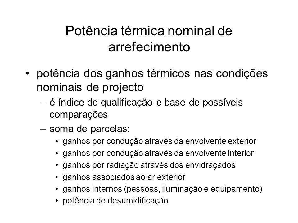 Potência térmica nominal de arrefecimento potência dos ganhos térmicos nas condições nominais de projecto –é índice de qualificação e base de possívei