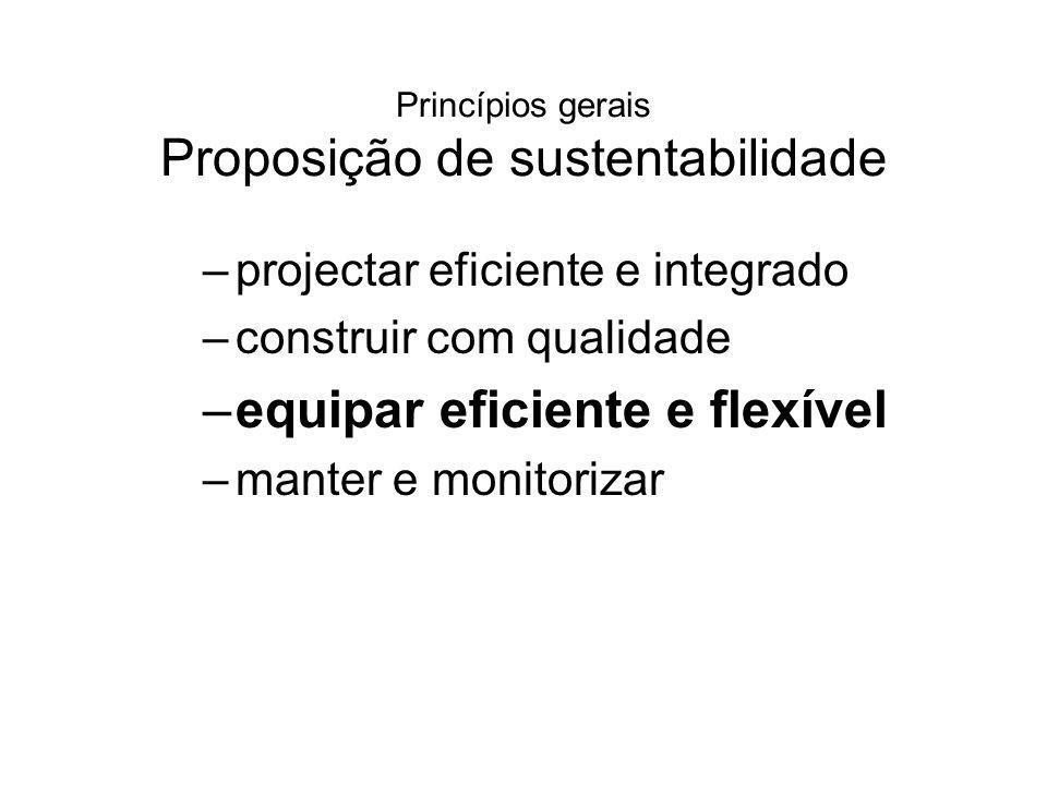 Princípios gerais Proposição de sustentabilidade –projectar eficiente e integrado –construir com qualidade –equipar eficiente e flexível –manter e mon