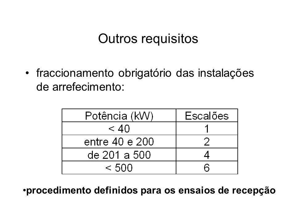 Outros requisitos fraccionamento obrigatório das instalações de arrefecimento: procedimento definidos para os ensaios de recepção