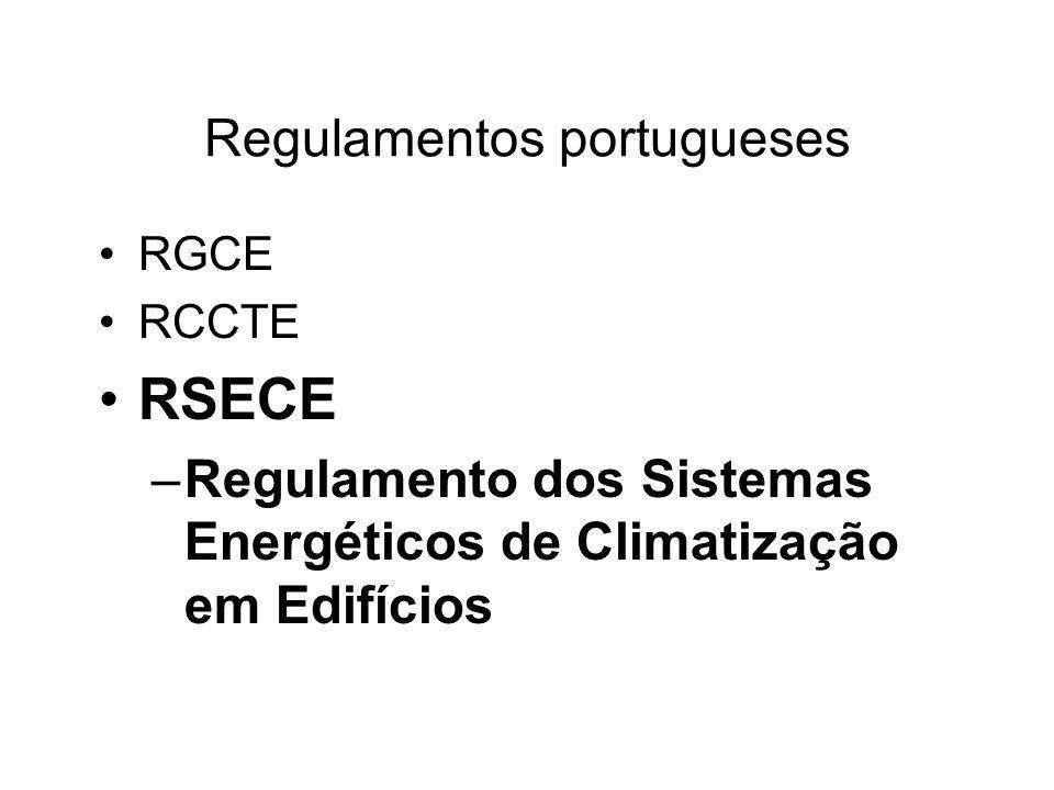 Regulamentos portugueses RGCE RCCTE RSECE –Regulamento dos Sistemas Energéticos de Climatização em Edifícios