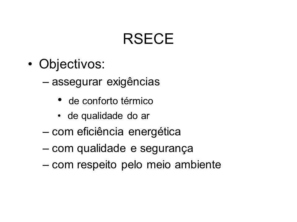 RSECE Objectivos: –assegurar exigências de conforto térmico de qualidade do ar –com eficiência energética –com qualidade e segurança –com respeito pel