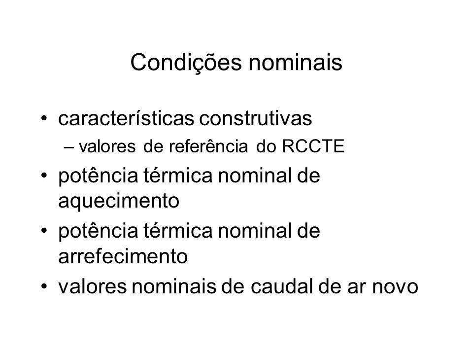 Condições nominais características construtivas –valores de referência do RCCTE potência térmica nominal de aquecimento potência térmica nominal de ar