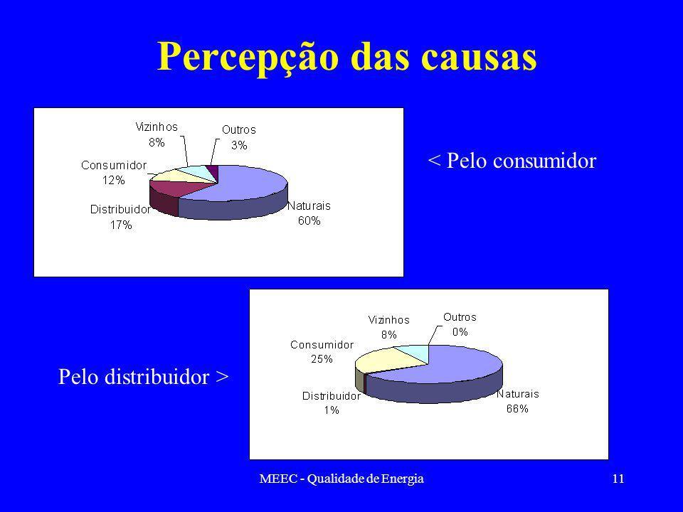 MEEC - Qualidade de Energia11 Percepção das causas < Pelo consumidor Pelo distribuidor >