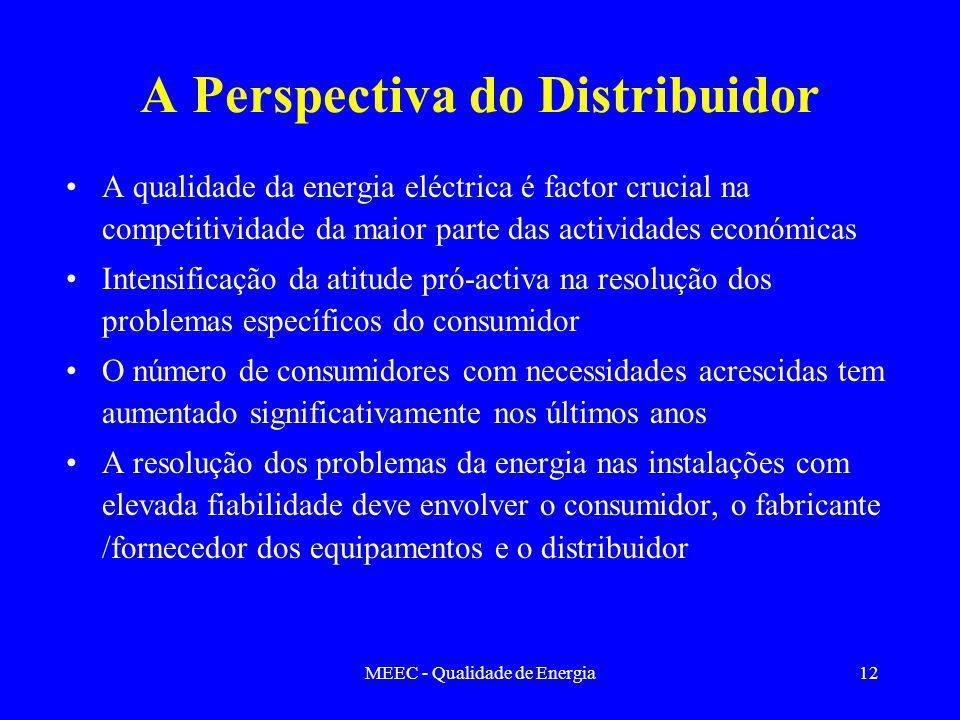 MEEC - Qualidade de Energia12 A Perspectiva do Distribuidor A qualidade da energia eléctrica é factor crucial na competitividade da maior parte das ac