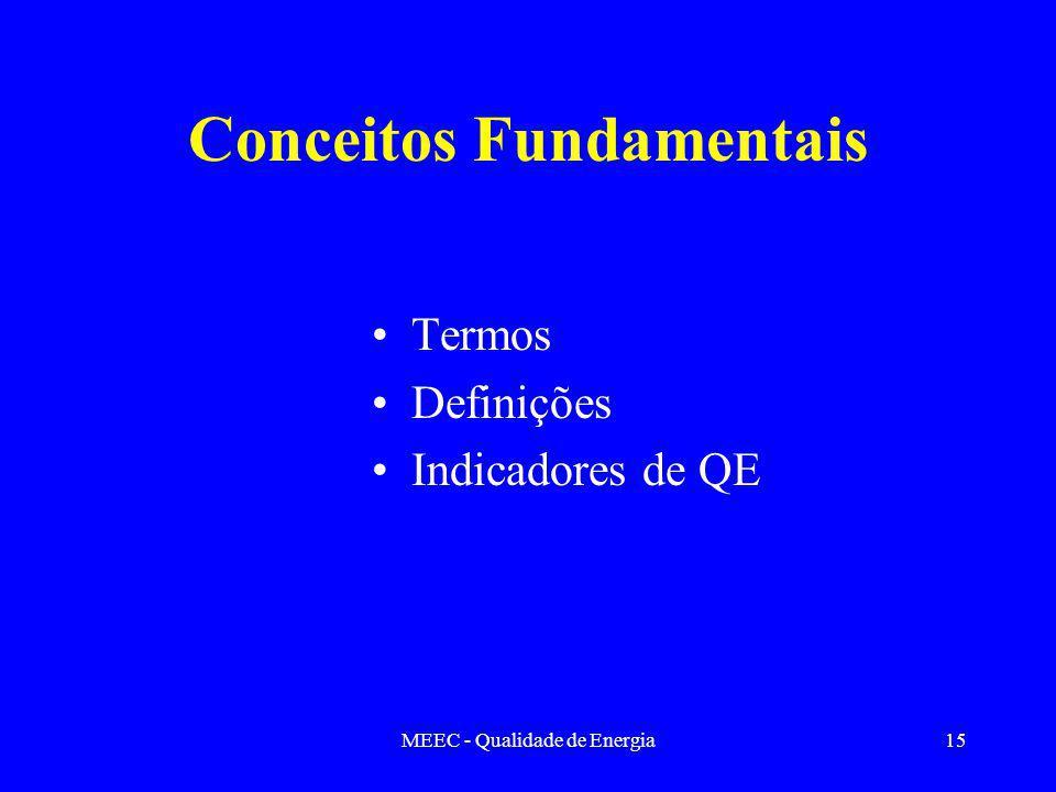 MEEC - Qualidade de Energia15 Conceitos Fundamentais Termos Definições Indicadores de QE