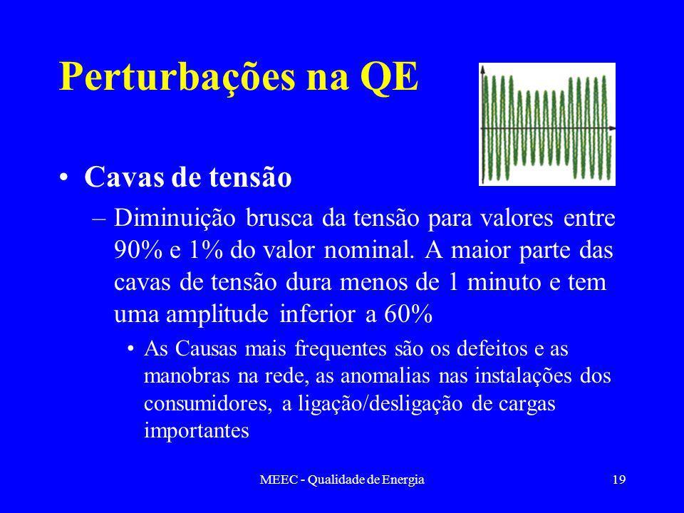 MEEC - Qualidade de Energia19 Perturbações na QE Cavas de tensão –Diminuição brusca da tensão para valores entre 90% e 1% do valor nominal. A maior pa