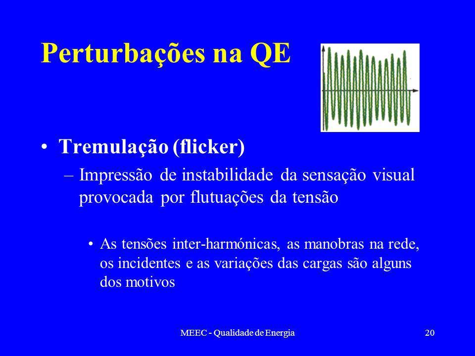 MEEC - Qualidade de Energia20 Perturbações na QE Tremulação (flicker) –Impressão de instabilidade da sensação visual provocada por flutuações da tensão As tensões inter-harmónicas, as manobras na rede, os incidentes e as variações das cargas são alguns dos motivos