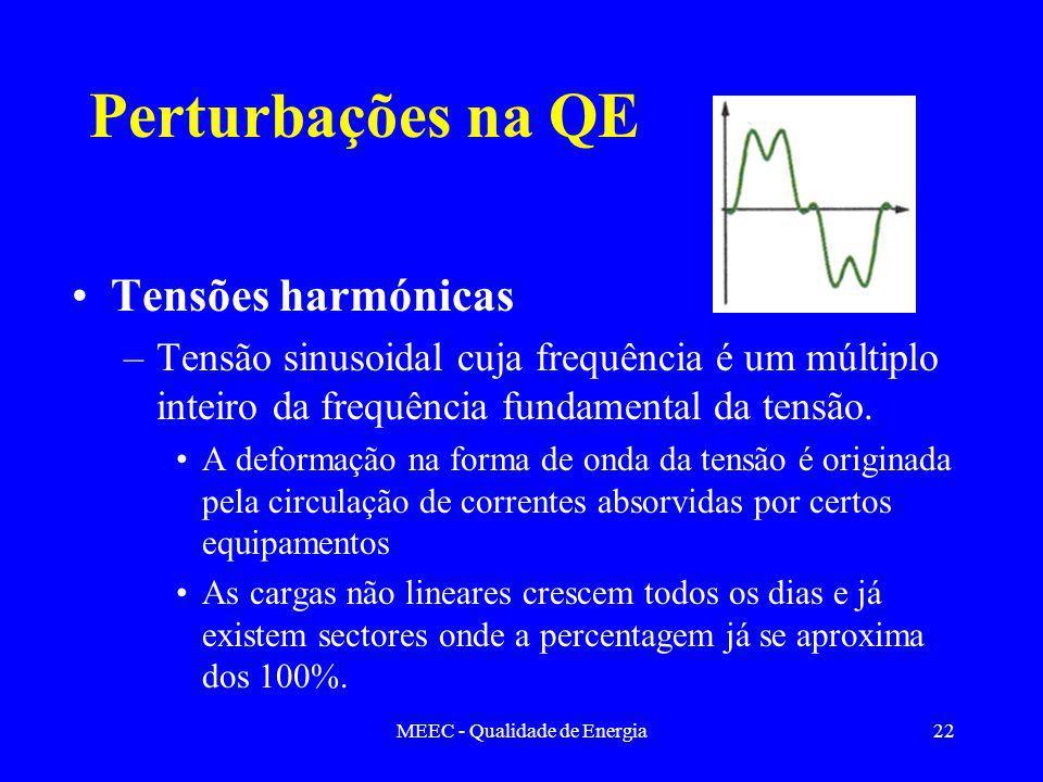 MEEC - Qualidade de Energia22 Perturbações na QE Tensões harmónicas –Tensão sinusoidal cuja frequência é um múltiplo inteiro da frequência fundamental da tensão.