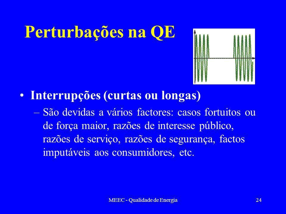 MEEC - Qualidade de Energia24 Perturbações na QE Interrupções (curtas ou longas) –São devidas a vários factores: casos fortuitos ou de força maior, razões de interesse público, razões de serviço, razões de segurança, factos imputáveis aos consumidores, etc.