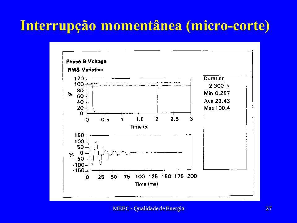 MEEC - Qualidade de Energia27 Interrupção momentânea (micro-corte)