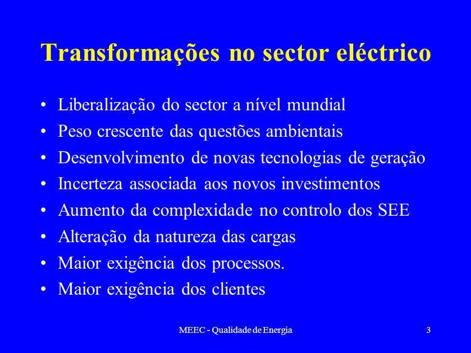 MEEC - Qualidade de Energia3 Transformações no sector eléctrico Liberalização do sector a nível mundial Peso crescente das questões ambientais Desenvolvimento de novas tecnologias de geração Incerteza associada aos novos investimentos Aumento da complexidade no controlo dos SEE Alteração da natureza das cargas Maior exigência dos processos.
