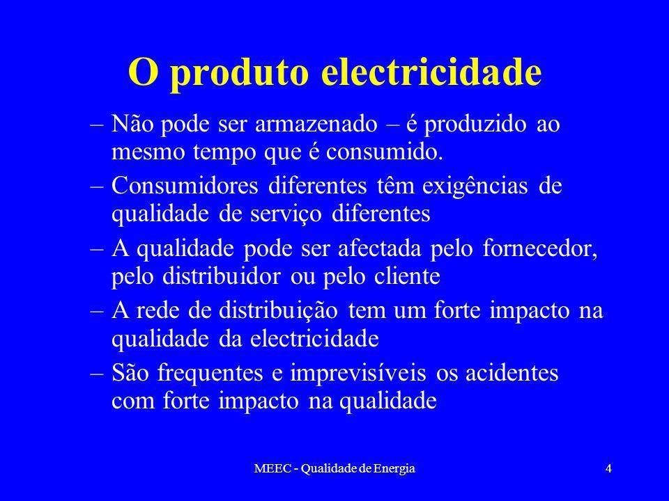 MEEC - Qualidade de Energia4 O produto electricidade –Não pode ser armazenado – é produzido ao mesmo tempo que é consumido. –Consumidores diferentes t