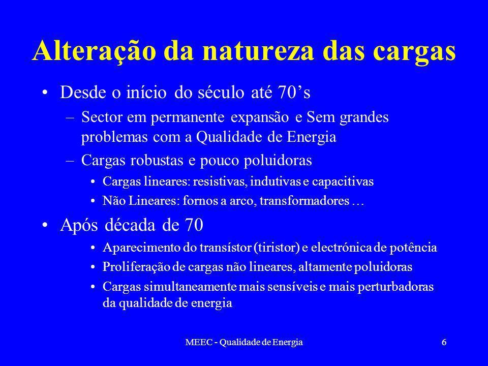 MEEC - Qualidade de Energia6 Alteração da natureza das cargas Desde o início do século até 70s –Sector em permanente expansão e Sem grandes problemas