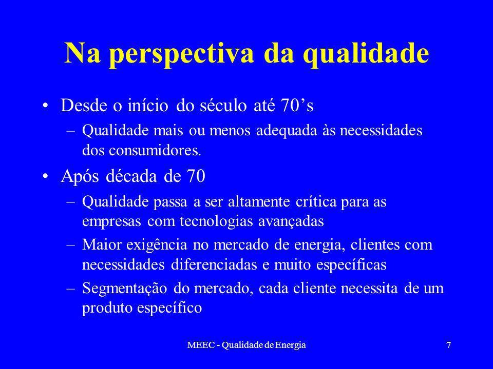 MEEC - Qualidade de Energia7 Na perspectiva da qualidade Desde o início do século até 70s –Qualidade mais ou menos adequada às necessidades dos consumidores.