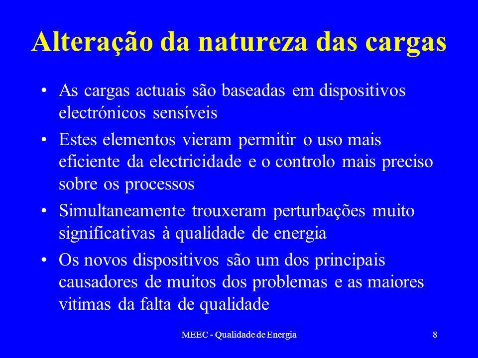 MEEC - Qualidade de Energia8 Alteração da natureza das cargas As cargas actuais são baseadas em dispositivos electrónicos sensíveis Estes elementos vi