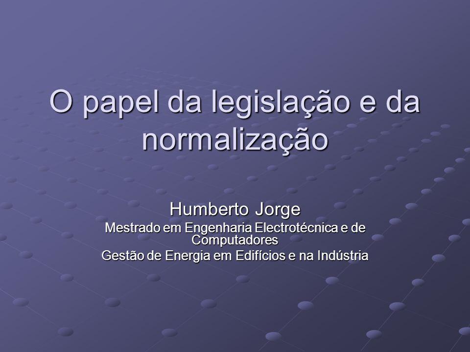 O papel da legislação e da normalização Humberto Jorge Mestrado em Engenharia Electrotécnica e de Computadores Gestão de Energia em Edifícios e na Ind