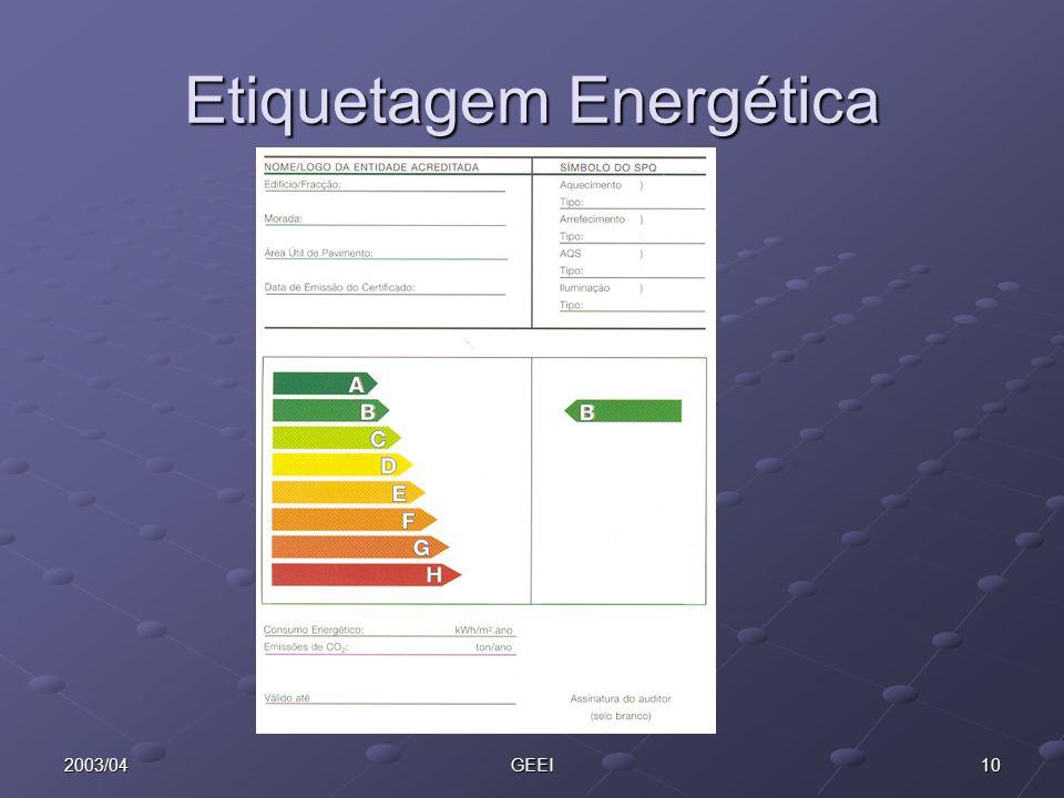 102003/04GEEI Etiquetagem Energética
