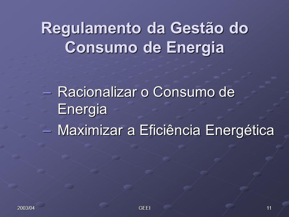 112003/04GEEI Regulamento da Gestão do Consumo de Energia –Racionalizar o Consumo de Energia –Maximizar a Eficiência Energética