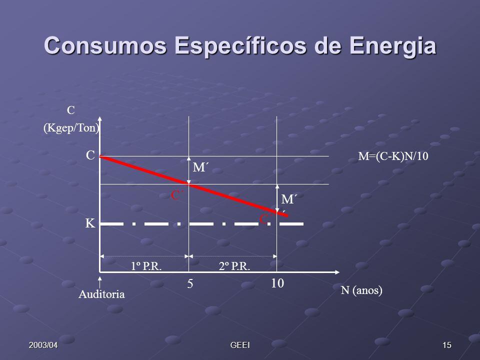 152003/04GEEI Consumos Específicos de Energia 5 C K C´ C´´ C (Kgep/Ton) N (anos) Auditoria 10 M´ M´ ´ 1º P.R.2º P.R. M=(C-K)N/10