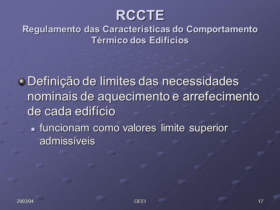 172003/04GEEI RCCTE Regulamento das Características do Comportamento Térmico dos Edifícios Definição de limites das necessidades nominais de aquecimen