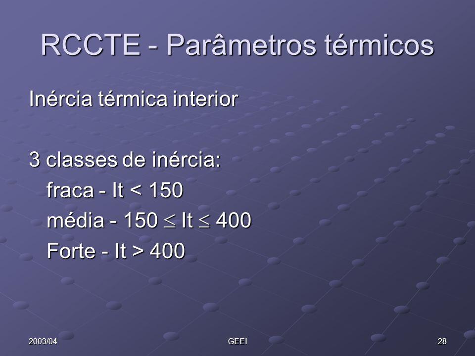 282003/04GEEI RCCTE - Parâmetros térmicos Inércia térmica interior 3 classes de inércia: fraca - It < 150 média - 150 It 400 Forte - It > 400