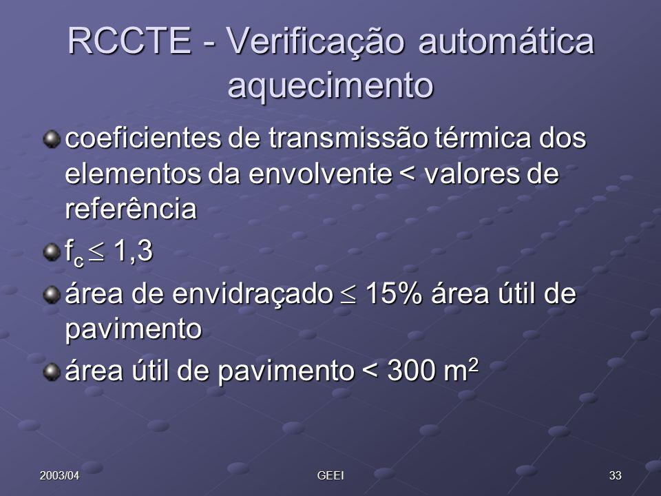 332003/04GEEI RCCTE - Verificação automática aquecimento coeficientes de transmissão térmica dos elementos da envolvente < valores de referência f c 1