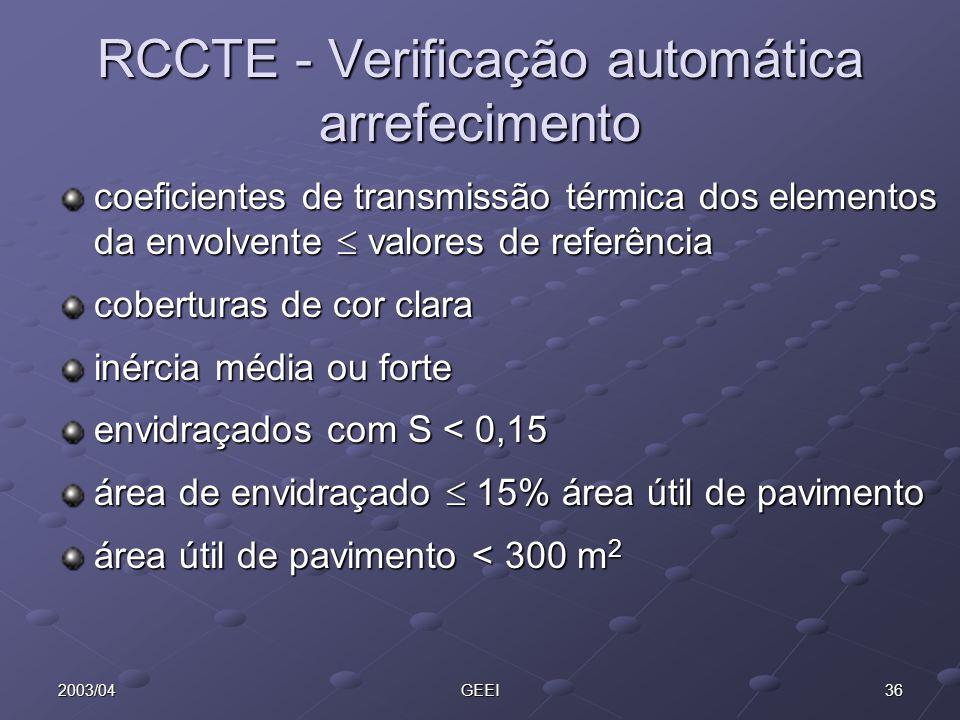 362003/04GEEI RCCTE - Verificação automática arrefecimento coeficientes de transmissão térmica dos elementos da envolvente valores de referência cober