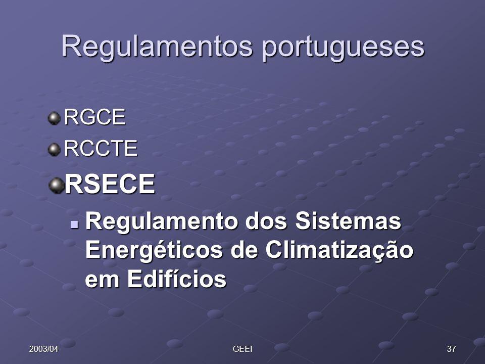 372003/04GEEI Regulamentos portugueses RGCERCCTERSECE Regulamento dos Sistemas Energéticos de Climatização em Edifícios Regulamento dos Sistemas Energ