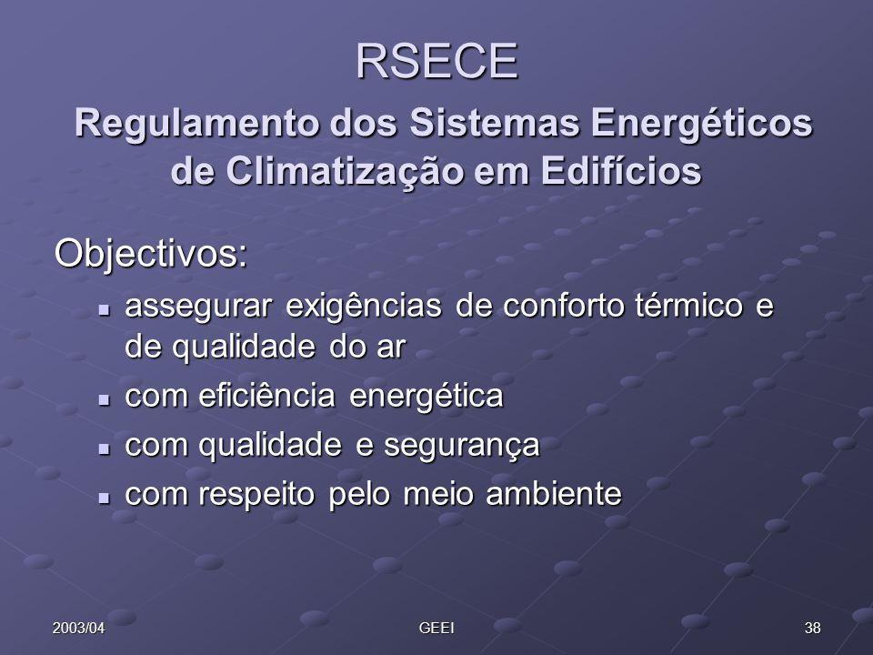 382003/04GEEI RSECE Regulamento dos Sistemas Energéticos de Climatização em Edifícios Objectivos: assegurar exigências de conforto térmico e de qualid