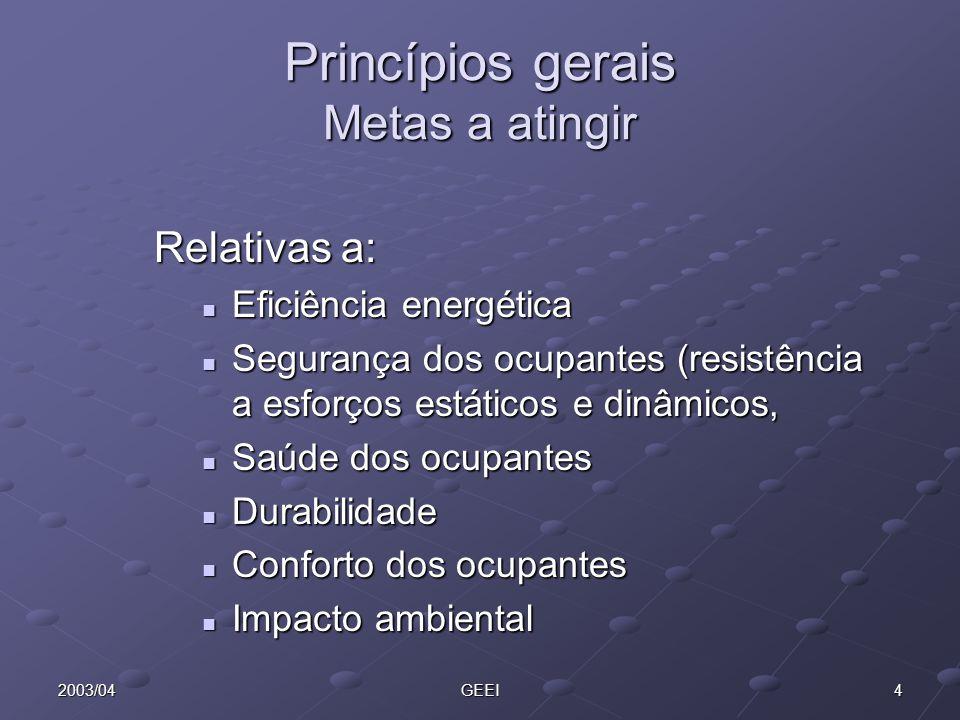 42003/04GEEI Princípios gerais Metas a atingir Relativas a: Eficiência energética Eficiência energética Segurança dos ocupantes (resistência a esforço
