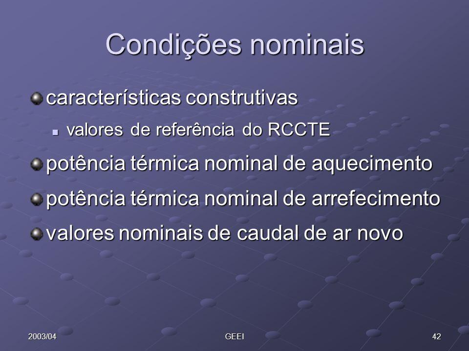 422003/04GEEI Condições nominais características construtivas valores de referência do RCCTE valores de referência do RCCTE potência térmica nominal d