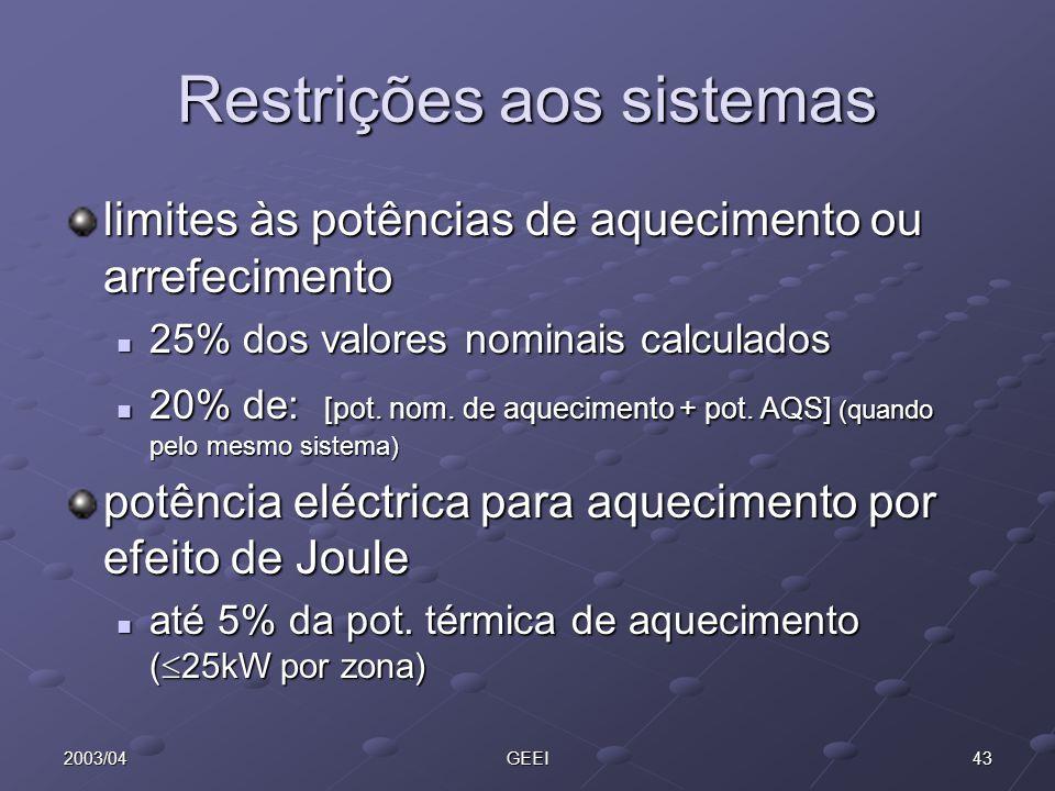 432003/04GEEI Restrições aos sistemas limites às potências de aquecimento ou arrefecimento 25% dos valores nominais calculados 25% dos valores nominai