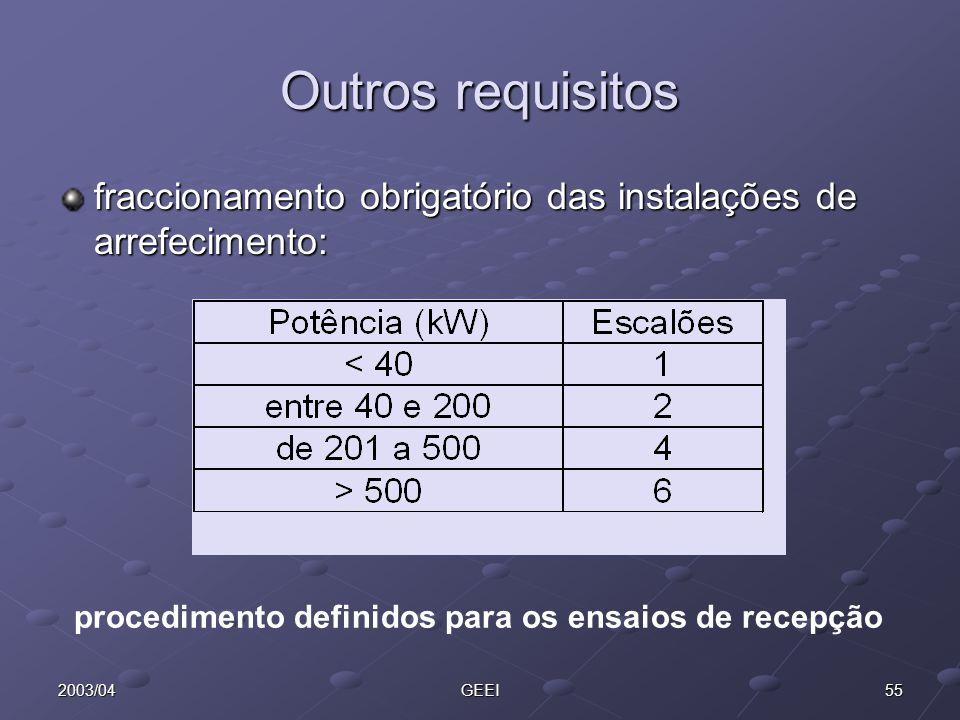 552003/04GEEI Outros requisitos fraccionamento obrigatório das instalações de arrefecimento: procedimento definidos para os ensaios de recepção