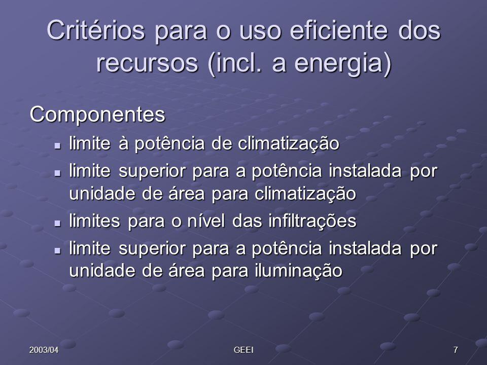 72003/04GEEI Critérios para o uso eficiente dos recursos (incl. a energia) Componentes limite à potência de climatização limite à potência de climatiz