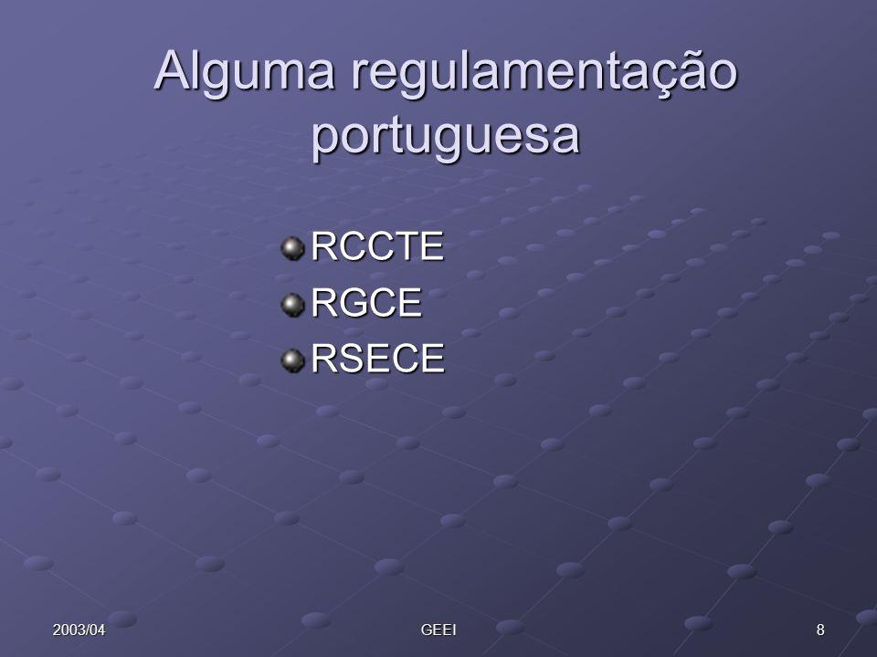 82003/04GEEI Alguma regulamentação portuguesa RCCTERGCERSECE