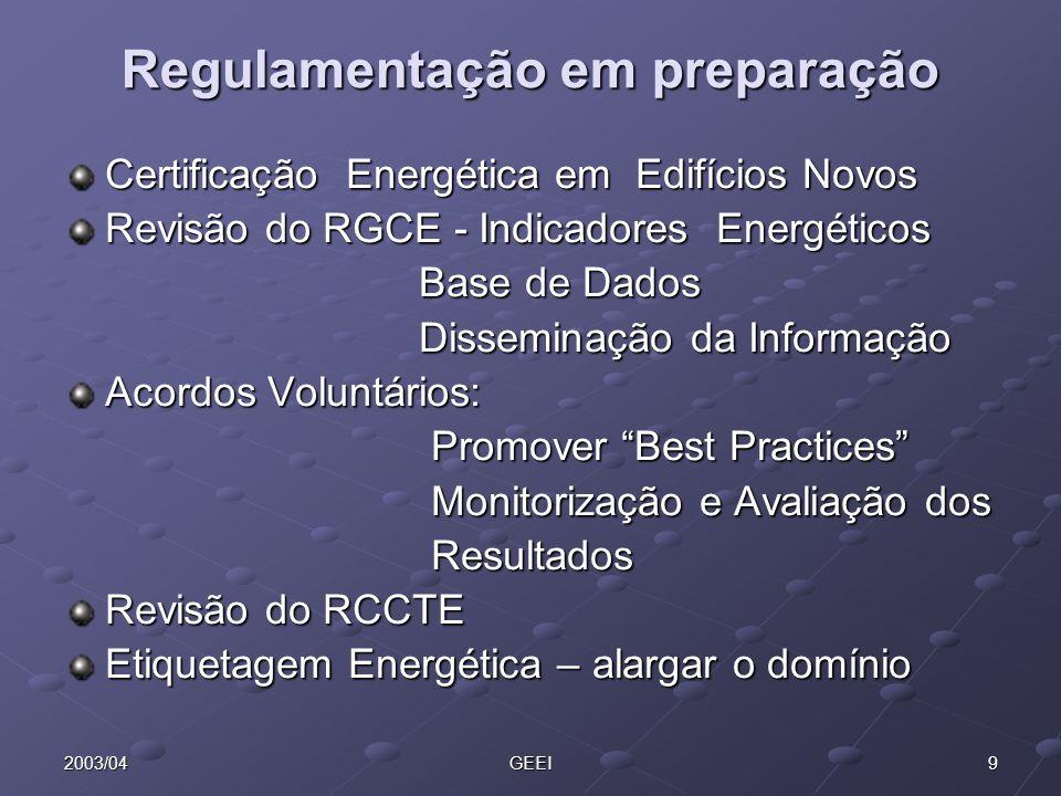92003/04GEEI Regulamentação em preparação Certificação Energética em Edifícios Novos Revisão do RGCE - Indicadores Energéticos Base de Dados Base de D