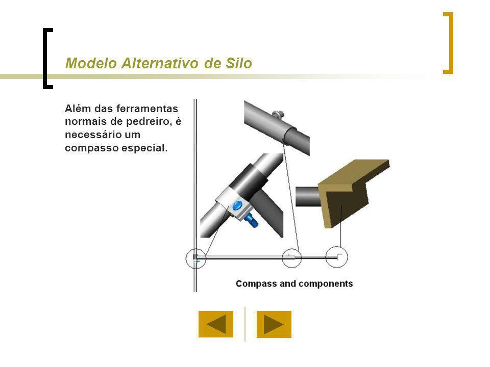 Modelo Alternativo de Silo Além das ferramentas normais de pedreiro, é necessário um compasso especial.