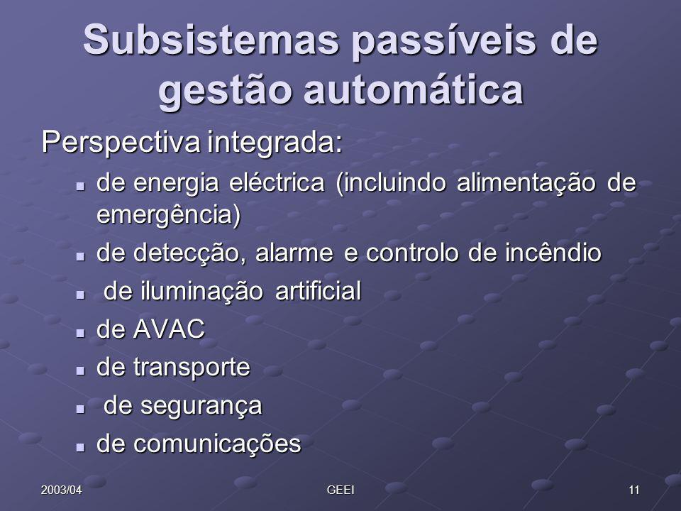 112003/04GEEI Subsistemas passíveis de gestão automática Perspectiva integrada: de energia eléctrica (incluindo alimentação de emergência) de energia