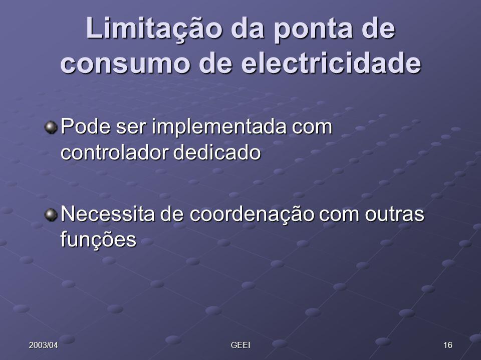 162003/04GEEI Limitação da ponta de consumo de electricidade Pode ser implementada com controlador dedicado Necessita de coordenação com outras funçõe