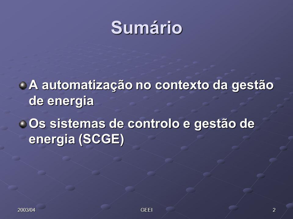 22003/04GEEI Sumário A automatização no contexto da gestão de energia Os sistemas de controlo e gestão de energia (SCGE)