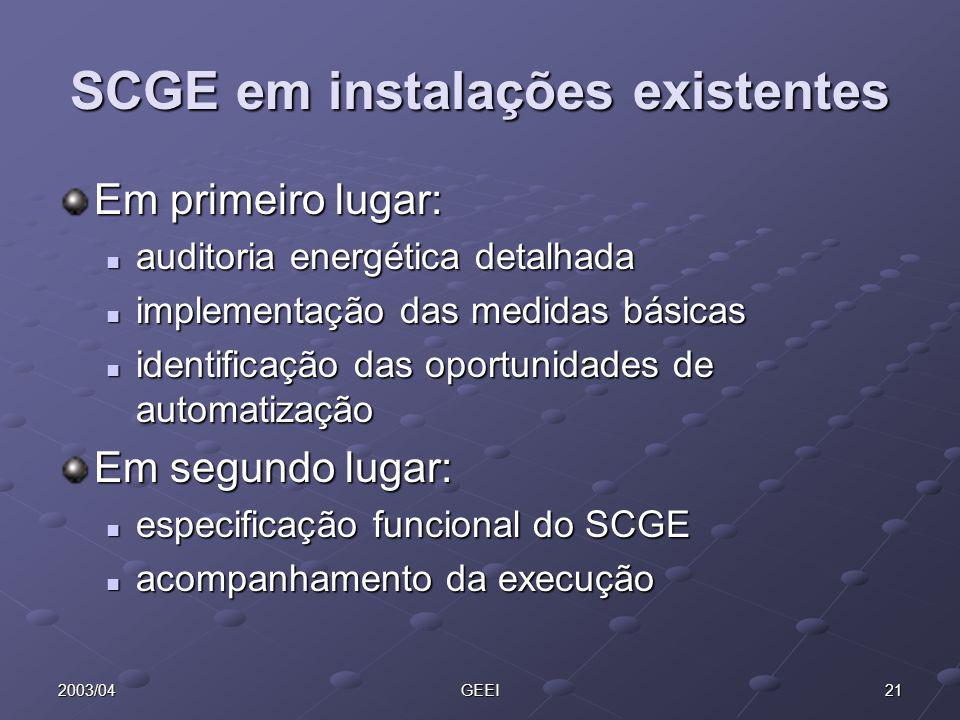 212003/04GEEI SCGE em instalações existentes Em primeiro lugar: auditoria energética detalhada auditoria energética detalhada implementação das medida